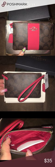 "Coach Boxed Signature PVC Corner Zip Wristlet New with tags never been used in great condition no flaws no damage does NOT COME with box dark brown with red and gold tone hardware Signature Zip Wristlet   Product Details:  -Signature coated canvas  -Zip closure, fabric lining  -Credit card pockets  -Wrist strap attached  -color: Khaki burgundy   -retail price $85  -6 1/4"" (L) x 4"" (H)  Tissue Paper and Coach box included Coach Bags Clutches & Wristlets"