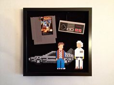 Back to the Future: Handmade piece of mixed media pixel art created with an old NES game, a controller, and Perler Beads. By ThePixelArtShop