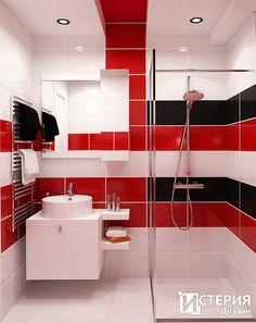 Bathroom in a minimalist style: Minimalism in the bathroom is the quality rather than quantity. Red Bathroom Decor, Bathroom Interior Design, Light Bathroom, Colorful Interior Design, Colorful Interiors, Toilet Design, Diffused Light, Minimalist Fashion, Minimalist Style