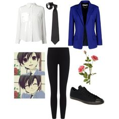 Haruhi Fujioka outfit :) by haleyworlow on Polyvore featuring polyvore, fashion, style, Marc Jacobs, Vanessa Bruno, James Perse, Converse and OKA