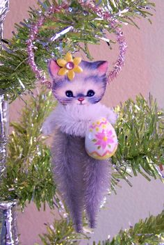 Easter Kitten Feather Tree Ornament Decoration by TreePets on Etsy