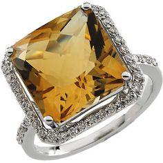 14K White Gold Genuine Citrine & Diamond Ring $1,183.00