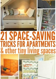 21 Space Saving Tricks for small room ideas Cool Diy Projects, Home Projects, Tiny Living, Living Spaces, Small Rooms, Kids Rooms, Saving Tips, Saving Ideas, Really Good Stuff
