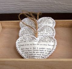 Vintage Book Paper Heart Ornaments Set of 3 by theepapergirl, $11.00