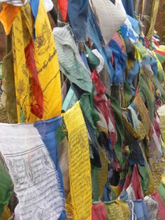 tibetan prayer flag, bumthang, bhutan
