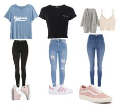 """School outfits"" by skatiekat on Polyvore featuring Topshop, Jane Norman, adidas Originals, Madewell and Vans"