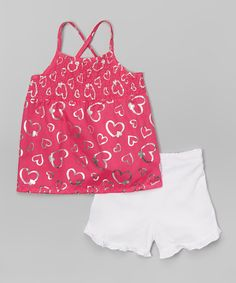 Another great find on #zulily! Penny M Pink Ruffle Hearts Top & Shorts - Infant, Toddler by Penny M #zulilyfinds