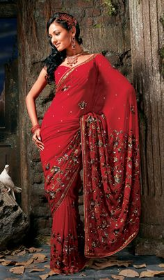 Stone Work Saree Red Color |Pinned from PinTo for iPad|