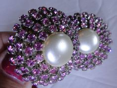 Pink Rhinestone Faux Pearl Chunky Clip Earrings by NOTABOUTNEED, $45.00