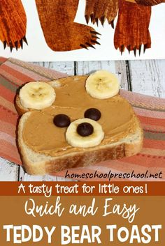 How to Make a Quick Teddy Bear Toast Snack for Kids, Teddy bear toast is a quick and easy breakfast or snack for preschoolers. Encourage your little ones to eat a healthy treat with toast that looks like. Toddler Meals, Kids Meals, Toddler Food, Baby Food Recipes, Gourmet Recipes, Cooking Recipes, Healthy Cooking, Cooking Kale, Cooking Steak