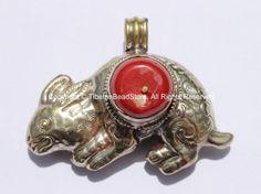 AS IS Tibetan Reversible Repousse Tibetan Silver Hare Pendant with Coral Inlay - Tibetan Rabbit Pendant - Handmade Tibetan Jewelry - WM5333