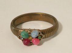 Vintage Stretch Gold Metal Bracelet with beads by dandelionvintage, $20.00