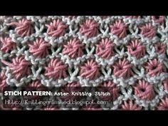 ▶ HD Knitting Video - Aster Flower Stitch Pattern - YouTube