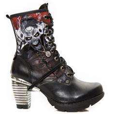 New Rock Boots Ladies Stack Heel Undead Bandit Boots - TR001 Boots