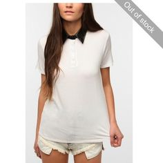 White t shirt with pleather collar White t shirt with pleather collar. The brand neon moon can be found at urban outfitters Neon Moon Tops Tees - Short Sleeve