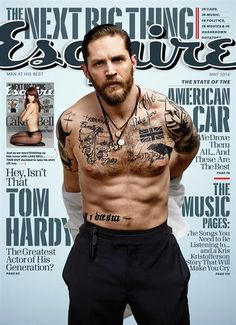 "Tom Hardy on past drug abuse: 'I am lucky to be here'Despite those rippling muscles and tough-guy tattoos, Tom Hardy doesn't 'feel very manly.' Or so he says in the new issue of Esquire.""I don't feel rugged and strong and capable in real life, not how I imagine a man ought to be,"" admits the ""Dark Knight Rises"" star. ""So I seek it, to mimic it and maybe understand it, or maybe to draw it into my own reality. People who are scary, they terrify me, but I can imitate them. I'm not a fighter…"