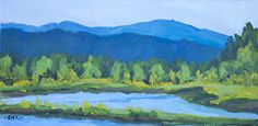 Touch of Spring at the Mill Site Pond Oakridge Plein Air by Sherri McDowell Oil ~ 6 inches x 12 inches