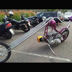 Light Purple Chopper with Really Long Springer Forks   1 of 6 pics in Choppers with a lot of Rake Pictures http://blog.lightningcustoms.com/extreme-rake-choppers-pics/  Ride Safe,  Steve  LightningCustoms.com -Motorcycle Photos - http://blog.lightningcustoms.com/motorcycle-pictures  #Choppers #MotorcyclePhotos