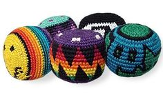 """Premium Woven Hacky Sacks by BeWild. $1.49. hacky sacks are assorted in color and will look just like the ones in this picture. Kicking around a hacky sack is great for improving coordination. Hacky Sacks are made in Guatemala, often called """"foot bags"""" they are all cotton with small plastic beads inside. They are firm when you buy them but quickly become soft and easy to work with. Sold individualy."""