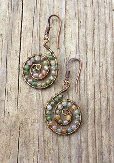 Wire+Wrapped+Ocean+Jasper+Spiral+Earrings+by+Lammergeier+on+Etsy,+$28.00