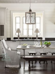 Love the vibe: Slipcover, bench, and colors... classic and understated!