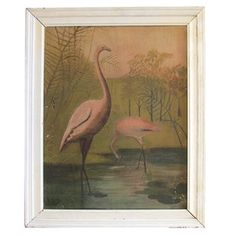 I love flamingos painting Vintage