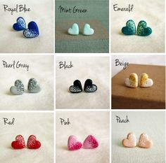 I don't always love heart jewelry but I dig these tiny studs-in grey. polymer clay stud earrings. $20.00, via Etsy.