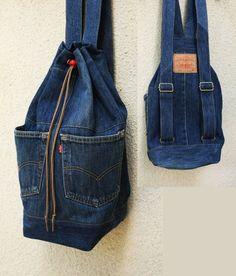 Denim backpack upcycled jeans backpack big navy blue drawstring bucket bag 90s… More