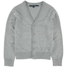 Cardigan col V en maille coton - Gris chiné - 111049