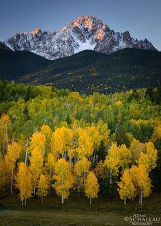 An autumn sunrise on Mount Sneffels in the San Juan Mountains of Colorado.