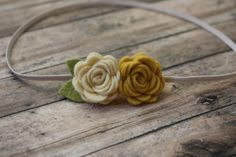 Baby Felt Flower Headband - Pair of Wool Felt Rosebuds in Ochre Yellow and Cream - Newborn to Adult