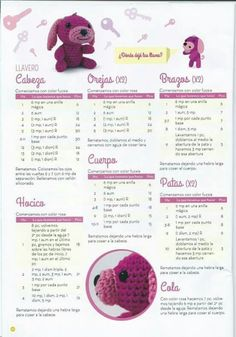 48 Amigurumi Patterns in Spanish - Cositas chulas - Amigurumi Patterns, Amigurumi Doll, Doll Patterns, Love Crochet, Crochet Baby, Knit Crochet, Crochet Animals, Crochet Toys, Dog Crafts