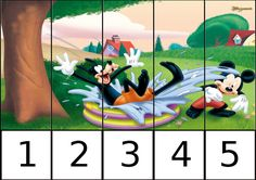 puzle de numeros 1-5 disney 2 Preschool Education, Preschool Games, Activities, Math For Kids, Crafts For Kids, Michey Mouse, Number Puzzles, Math Centers, Special Education