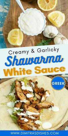 White Garlic Sauce, Creamy Garlic Sauce, Greek Recipes, New Recipes, Cooking Recipes, Healthy Recipes, Greek Sauce, Greek White Sauce Recipe, Greek Garlic Sauce Recipe