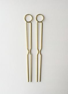 """Two brass hairpins at 5 1/2"""" long.  All items are made to order. Please allow up to 5 days for production."""