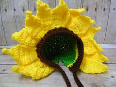 Newborn Sunflower Hat Baby Sunflower by HushabyeStrBoutique Crochet Flower Hat, Crochet Sunflower, Crochet Bebe, Flower Hats, Free Crochet, Crochet Baby Cocoon, Crochet Baby Clothes, Crochet Baby Hats, Baby Knitting