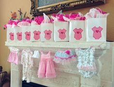 Favors and decorations at a baby shower! See more party ideas at CatchMyParty.com!