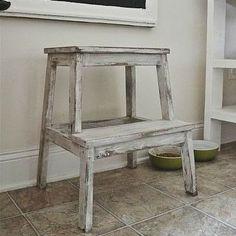 Idea about Ikea Furniture Makeover: Bekväm foot stool. Ikea Furniture Makeover, Stool Makeover, Diy Furniture, Ikea Step Stool, Ikea Bekvam, Wooden Steps, Diy Holz, Diy Chair, Diy Bench