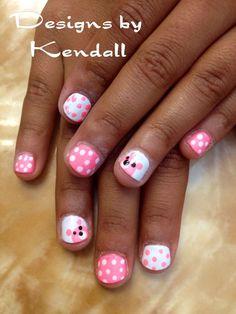 Kid nail designs. Baby bears nail art.