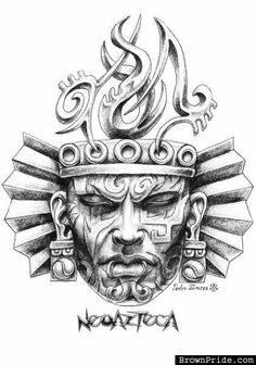 Awesome-Aztec-Mask-Tattoo-Design-By-Pedro-Alvarez.jpg (421×600)
