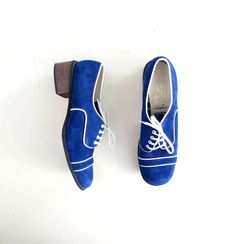 Blue Suede Shoes / Suede Oxfords / Vintage by SmallEarthVintage, $42.00