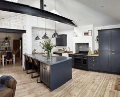 Seriously anticipating attempting this one. Kitchen Counters Ideas Seriously anticipating attempting this one. Open Plan Kitchen Living Room, Home Decor Kitchen, Kitchen Interior, Home Kitchens, Kitchen Dining, Dark Grey Kitchen, White Shaker Kitchen, Kitchen Diner Extension, Kitchen Flooring