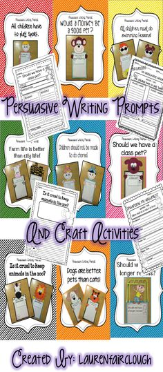 Persuasive and Opinion writing prompts and craft.  NINE fun and engaging prompts and craftivities included in this 130 page mega writing pack suitable for all learners!