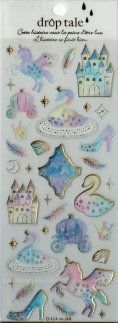 Kawaii Japan Sticker Sheet Assort Epoxy Droptale Series: FAIRY TALE Castle Unicorn Watercolor Pastel Feather Delicate Glass Slipper Carriage by mautio on Etsy https://www.etsy.com/listing/243747736/kawaii-japan-sticker-sheet-assort-epoxy