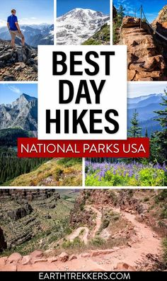 20 best day hikes in the US national parks. The list includes Angels Landing, Half Dome, the Narrows, Sky Pond, the Highline Trail, and many more. Which ones do you want to do? #nationalparks #hiking