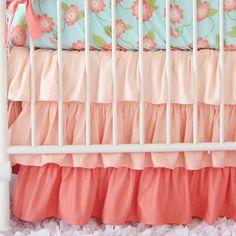Coral Gradient Ombre Ruffle Crib Skirt by CadenLaneBabyBedding
