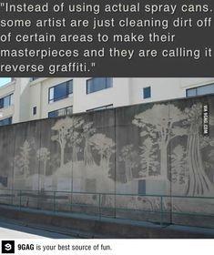 Temporary Street Art - Reverse graffiti dirt removed strategically