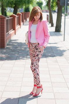 pink blazer and floral pants