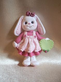 rabbit bunny Christmas ornament polymer clay gift by clayqts, $17.50