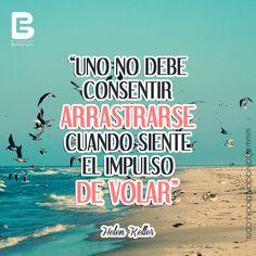 """""""Uno no debe consentir arrastrarse cuando siente el impulso de #volar."""" HelenKeller  #happyWeekend http://www.elsalvadorebooks.com"""